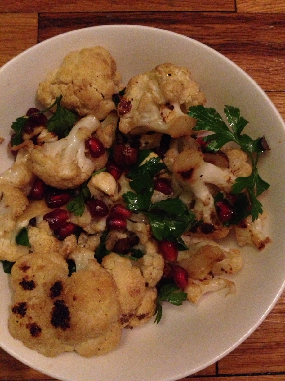 Roasted Cauliflower, Hazelnut, and Pomegranate Seed Salad